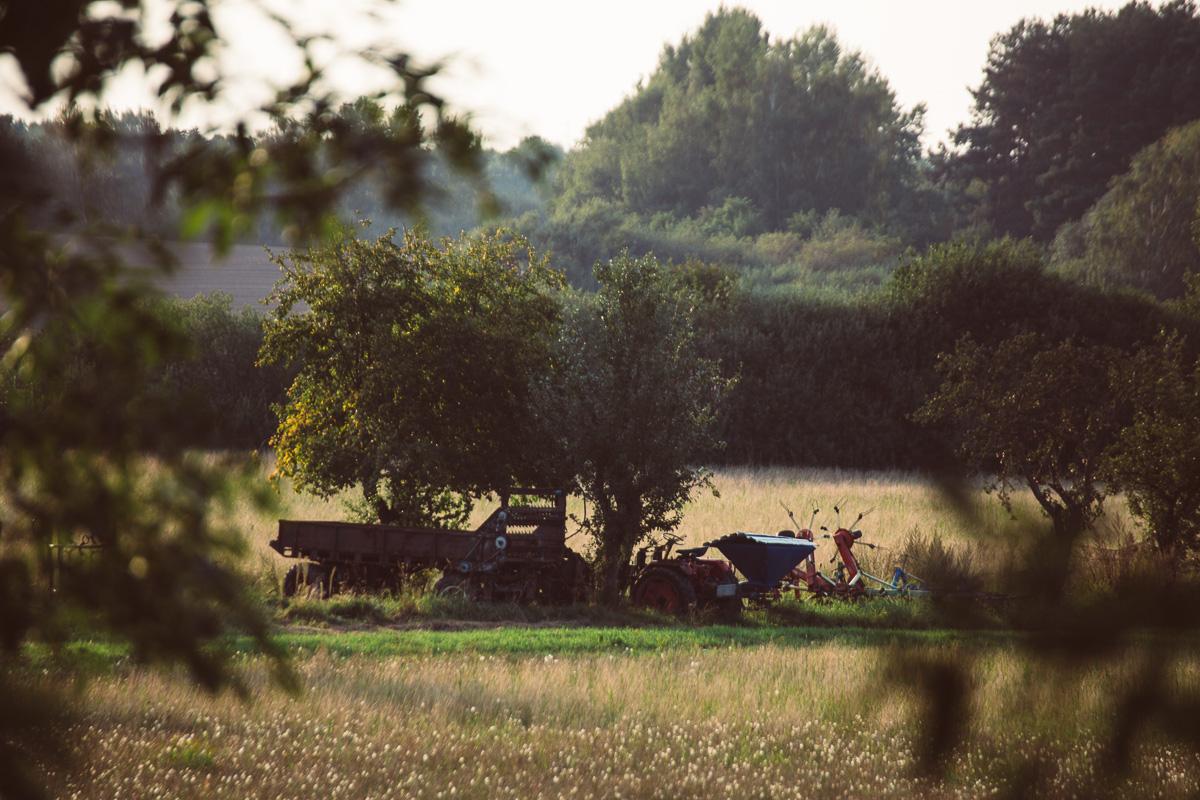 Landwirtschaftsmaschinen stehen unter einem Baum bei Wittichenau