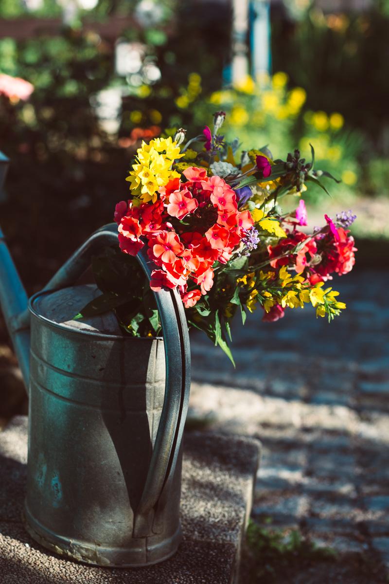 Blumenstrauß in Gießkanne