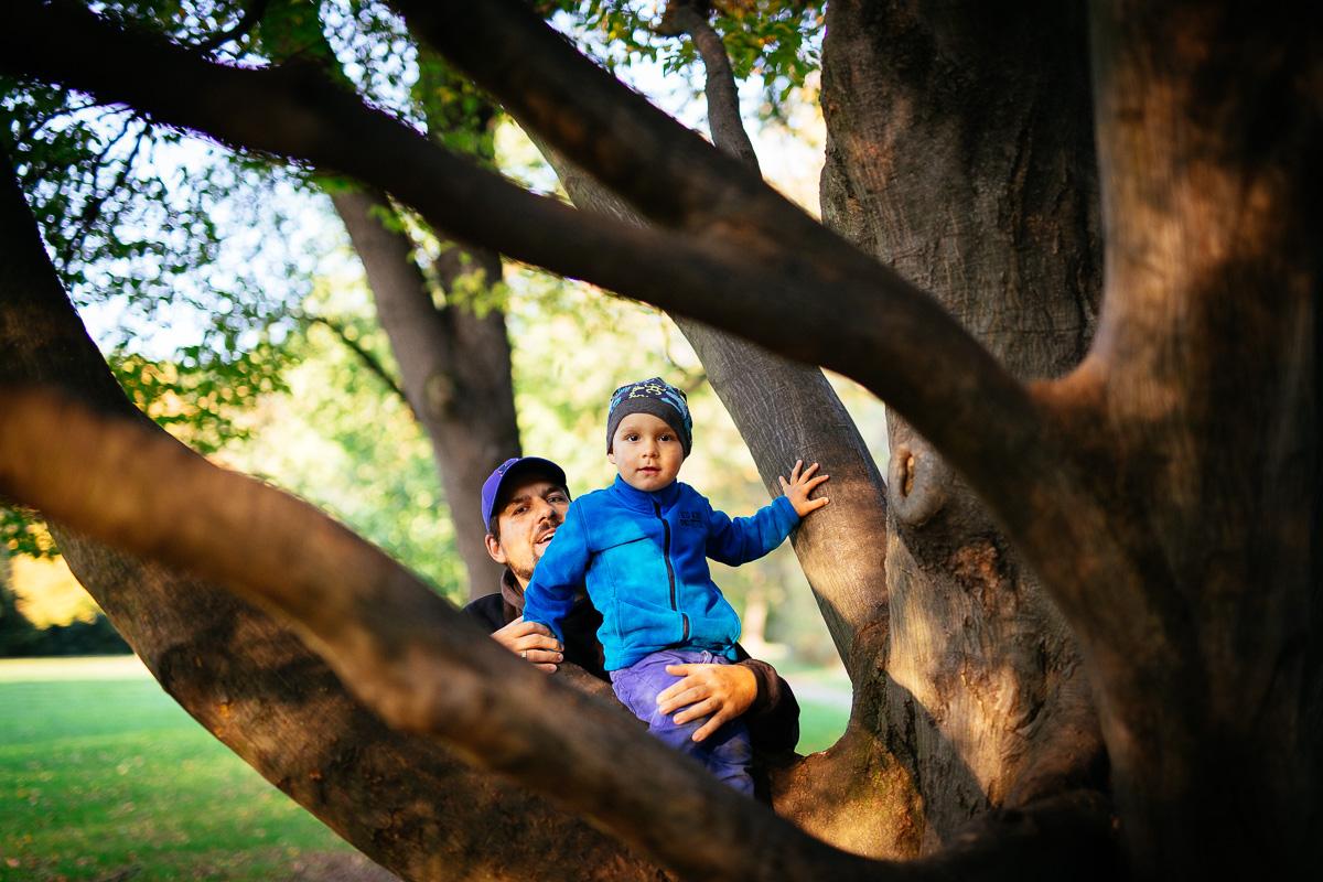 Vater und Sohn klettern auf einen Baum
