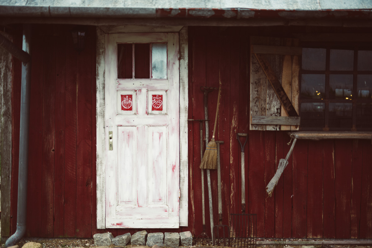 Front eines Bauernhauses, ohne Türklinke
