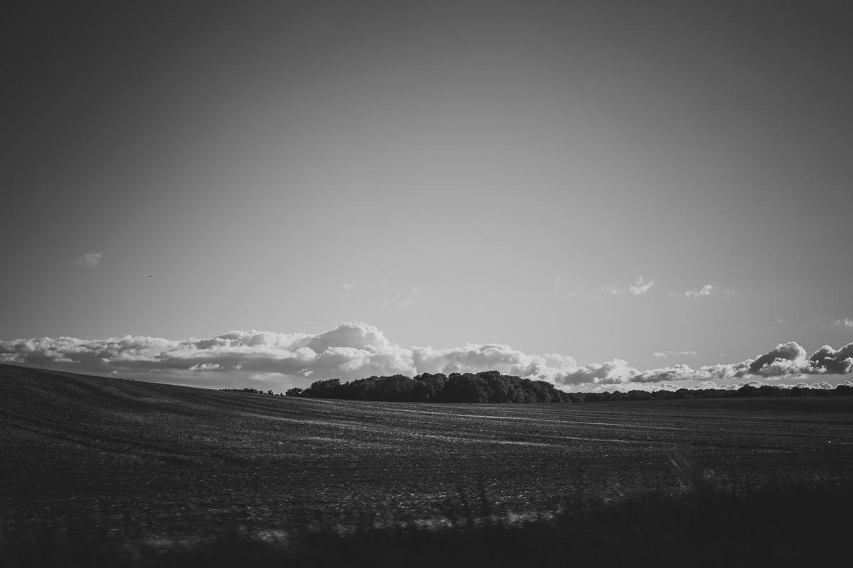 Landschaft mit Wald und Wolken am Himmel