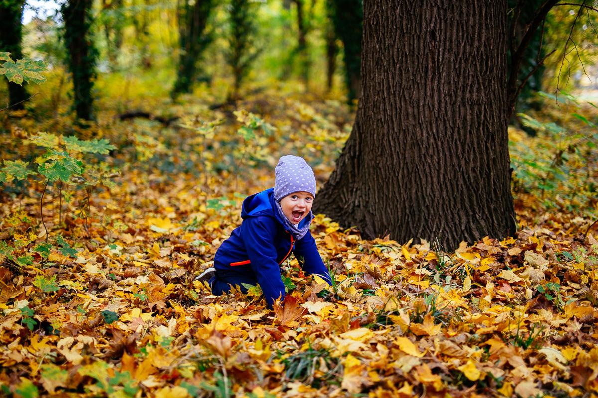 Kind spielt im Laub