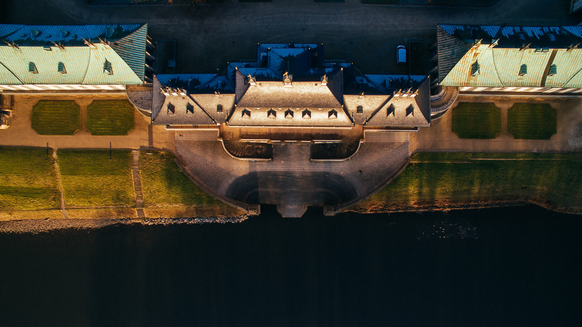 Wassertreppe von Schloss Pillnitz von oben