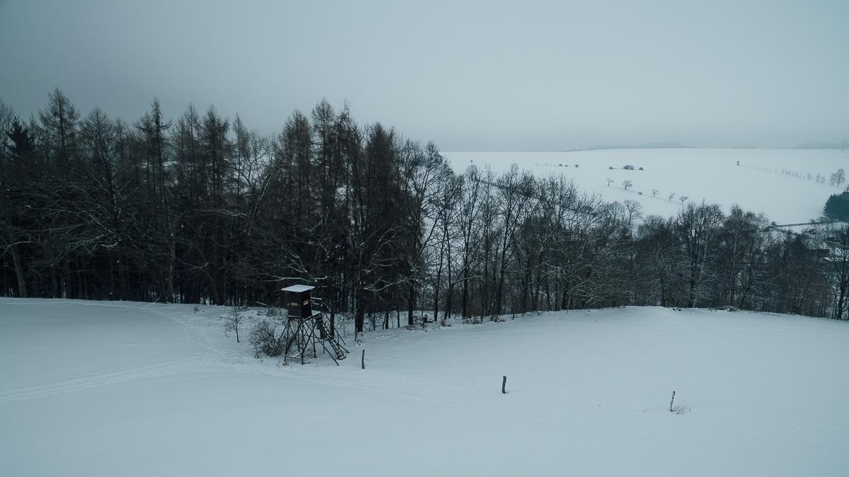 Jägerhochsitz vor einem Wald bei Rabenau