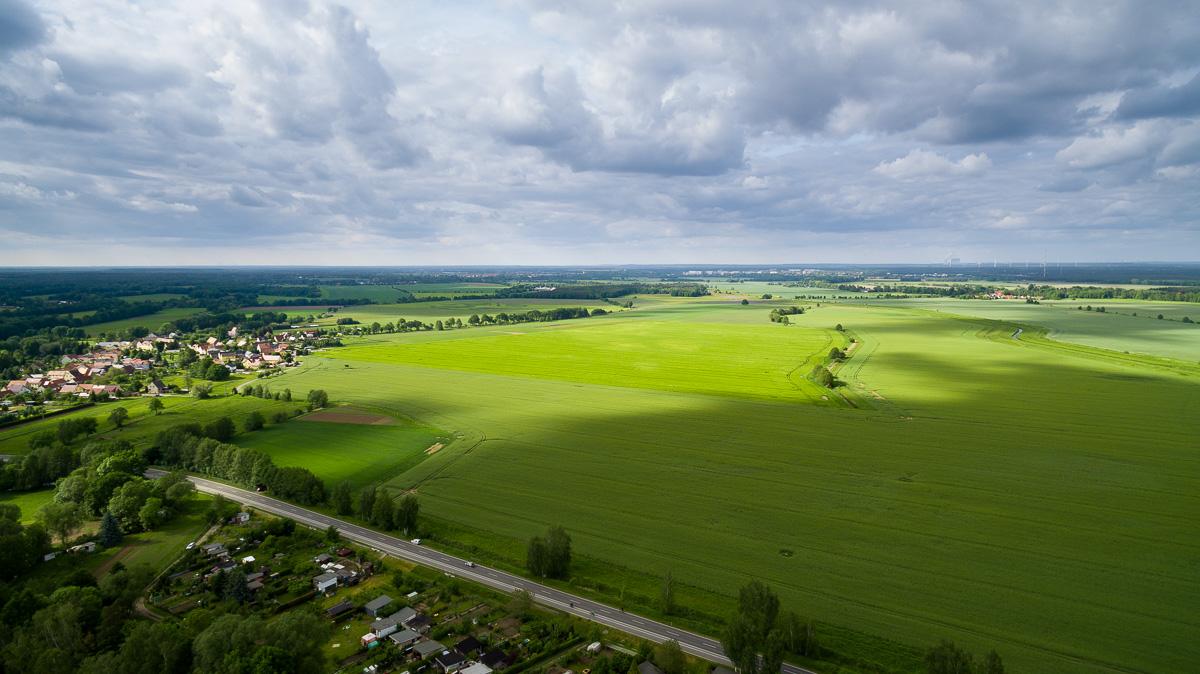 Luftbild nahe der kleinen Stadt Wittichenau