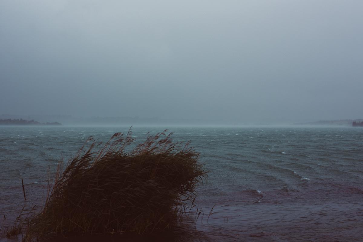 Unwetterartiger Sturm auf dem Hainer See bei Leipzig